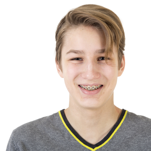 Teenager with Traditional Braces